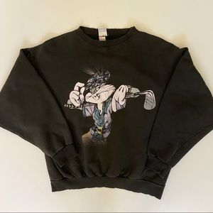 Vtg 97 Looney Tunes Bugs Bunny Sweatshirt XL Black